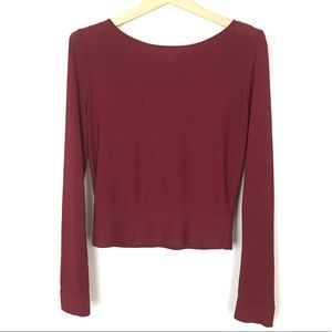 Cos Red Long Sleeve Scoop Neck Minimal Blouse XS